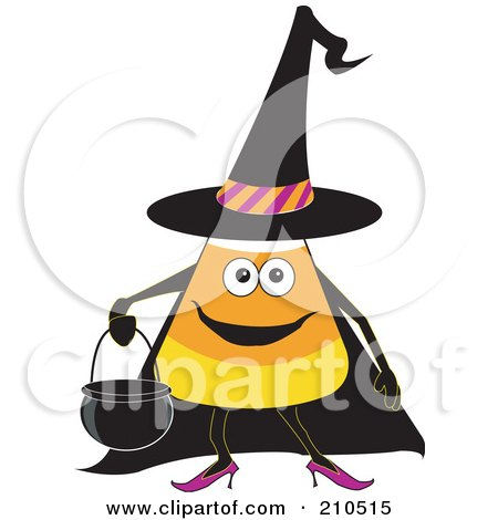 Royalty-Free (RF) Clipart Illustration of a Halloween Candy Corn In A Witch Costume, Carrying A Cauldron Bucket by erikalchan