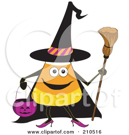 Royalty-Free (RF) Clipart Illustration of a Halloween Candy Corn In A Witch Costume by erikalchan