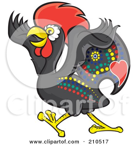 Royalty-Free (RF) Clipart Illustration of a Colorful Portugese Rooster Walking by Paulo Resende