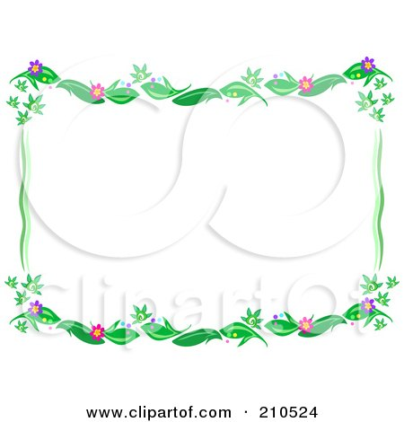 Free Flower Picture Downloads on Royalty Free  Rf  Clipart Illustration Of A Floral Vine Border Frame