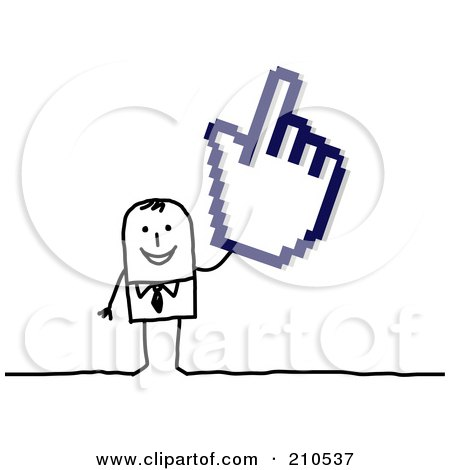 Royalty-Free (RF) Clipart Illustration of a Stick Person Businses Man Holding A Hand Cursor by NL shop