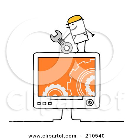 Royalty-Free (RF) Clipart Illustration of a Stick Person Man Computer Repair Technician by NL shop
