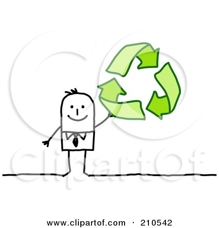 Royalty-Free (RF) Clipart Illustration of a Stick Person Business Man Holding Up Recycle Arrows by NL shop