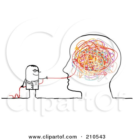 Royalty-Free (RF) Clipart Illustration of a Stick Person Man Doctor Pulling Strings From A Brain by NL shop