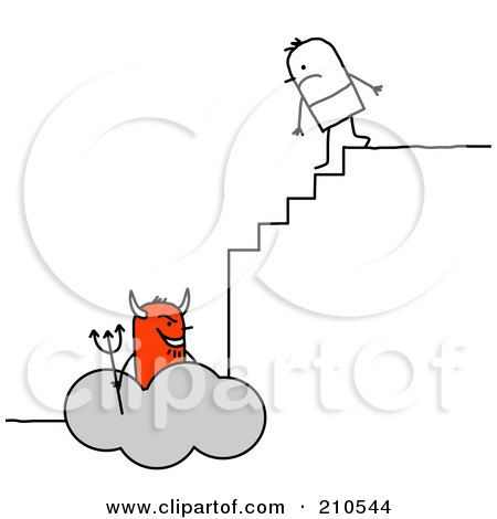 Royalty-Free (RF) Clipart Illustration of a Stick Person Man Climbing The Steps To Hell by NL shop
