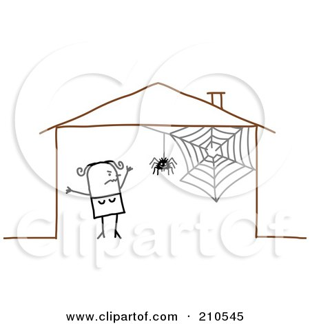 Royalty-Free (RF) Clipart Illustration of a Scared Stick Person Woman By A Spider In Her House by NL shop