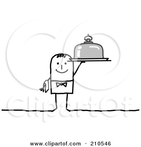 Royalty-Free (RF) Clipart Illustration of a Stick Person Man Waiter Holding A Platter by NL shop