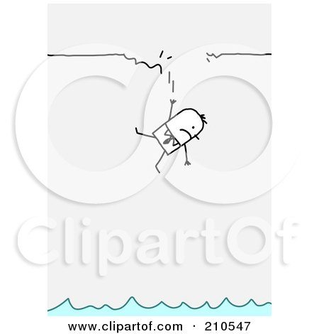Royalty-Free (RF) Clipart Illustration of a Stick Person Business Man Falling From A Broken Ledge To Water by NL shop