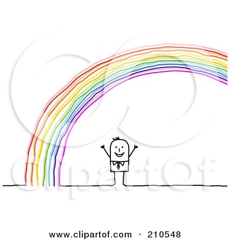 Royalty-Free (RF) Clipart Illustration of a Stick Person Man Standing Under A Rainbow by NL shop