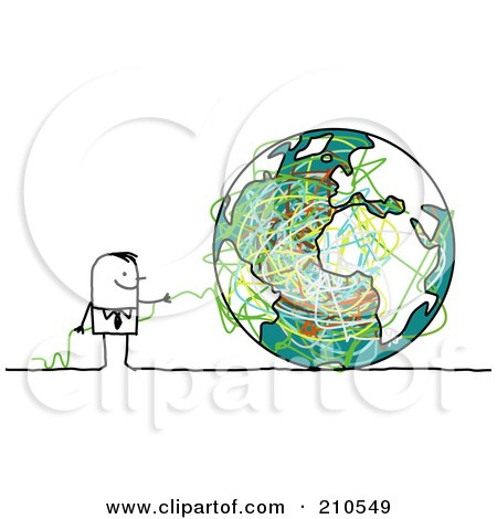 Royalty-Free (RF) Clipart Illustration of a Stick Person Business Man With Strings And A Globe by NL shop
