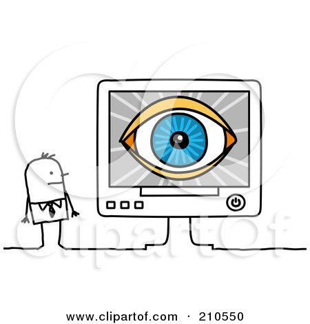 Royalty-Free (RF) Clipart Illustration of a Stick Person Business Man Looking At An Eye On A Computer Screen by NL shop