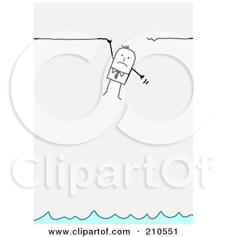 Royalty-Free (RF) Clipart Illustration of a Stick Person Business Man Hanging Onto A Broken Ledge Above Water by NL shop