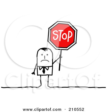Royalty-Free (RF) Clipart Illustration of a Sad Stick Person Businses Man Holding A Stop Sign by NL shop