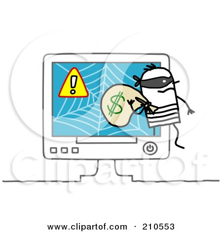 Royalty-Free (RF) Clipart Illustration of a Stick Person Man Robber Stealing Money From An Online Scam by NL shop