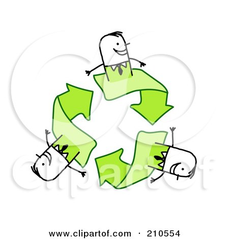 Royalty-Free (RF) Clipart Illustration of Stick Person Business Men On Green Recycle Arrows by NL shop