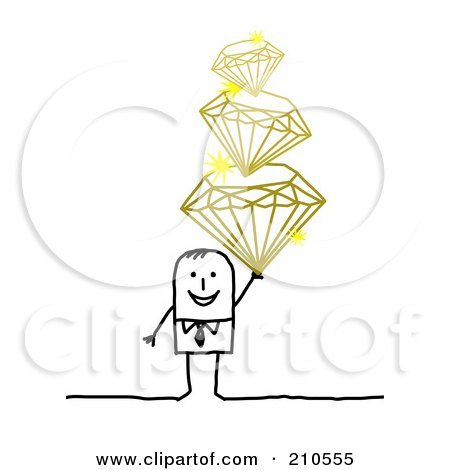 Royalty-Free (RF) Clipart Illustration of a Stick Person Man Holding A Pile Of Diamonds by NL shop
