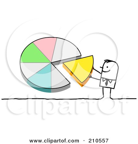 Royalty-Free (RF) Clipart Illustration of a Stick Person Man Pushing A Piece Of A Pie Chart Into Place by NL shop