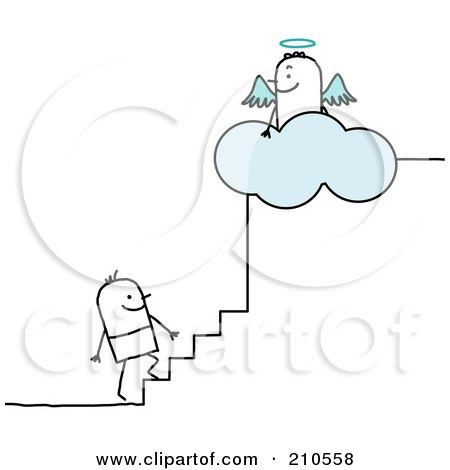 Royalty-Free (RF) Clipart Illustration of a Stick Person Man Climbing The Steps To Heaven by NL shop