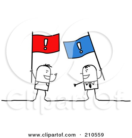 Royalty-Free (RF) Clipart Illustration of Stick Person Men Arguing With Flags by NL shop