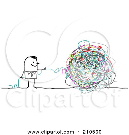 Royalty-Free (RF) Clipart Illustration of a Stick Person Business Man With A Ball Of Strings by NL shop
