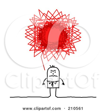 Royalty-Free (RF) Clipart Illustration of a Stick Person Business Man With A Red Angry Scribble Thought Balloon by NL shop