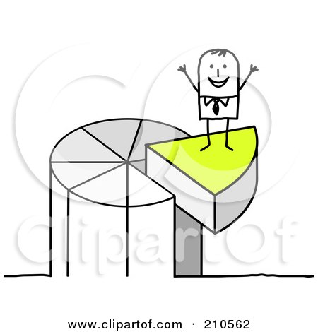 Royalty-Free (RF) Clipart Illustration of a Stick Person Man Standing On A Piece Of A Pie Chart by NL shop
