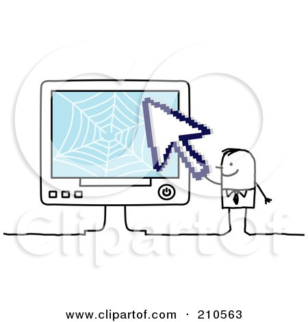 Royalty-Free (RF) Clipart Illustration of a Stick Person Business Man Holding A Cursor To A Computer by NL shop