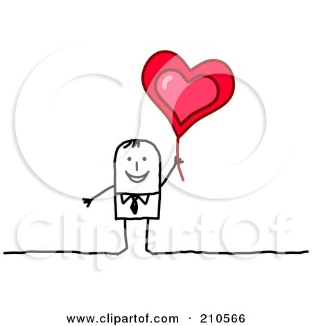 Royalty-Free (RF) Clipart Illustration of a Happy Stick Person Business Man Holding Up A Heart Balloon by NL shop