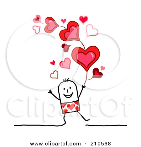 Royalty-Free (RF) Clipart Illustration of a Stick Person Man Under Valentines Day Hearts by NL shop