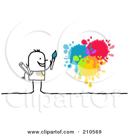 Royalty-Free (RF) Clipart Illustration of a Stick Person Man Painting Splatters by NL shop