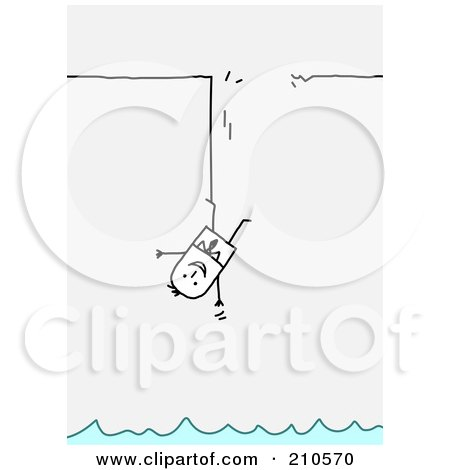 Royalty-Free (RF) Clipart Illustration of a Stick Person Business Man Hanging By The Leg Above Water by NL shop