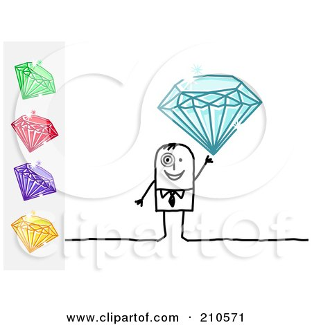 Royalty-Free (RF) Clipart Illustration of a Stick Person Business Man Holding Up A Blue Diamond, With Other Gems On The Side by NL shop