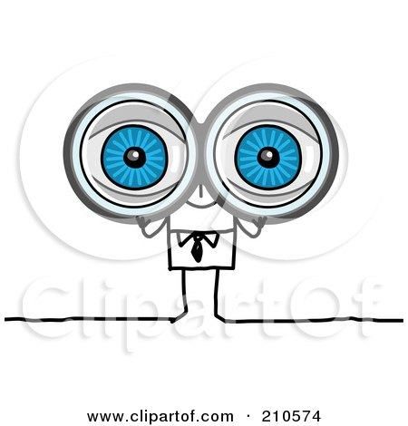 Royalty-Free (RF) Clipart Illustration of a Stick Person Business Man Looking Through Binoculars by NL shop