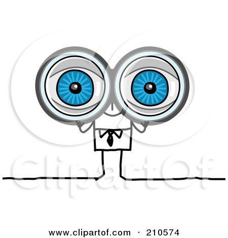 Stick Person Business Man Looking Through Binoculars Posters, Art Prints