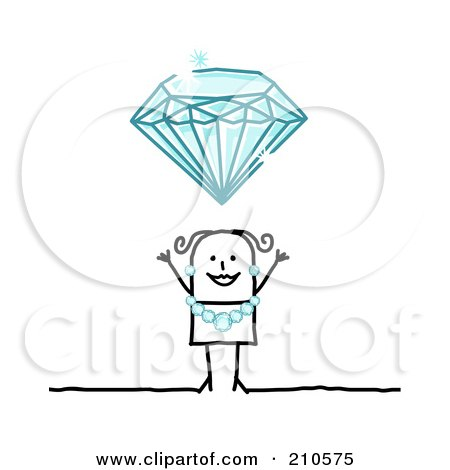 Royalty-Free (RF) Clipart Illustration of a Stick Person Woman Wearing A Diamond Necklace And Earrings Under A Huge Diamond by NL shop
