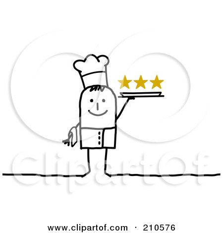 Royalty-Free (RF) Clipart Illustration of a Stick Person Man Chef Holding A Platter by NL shop