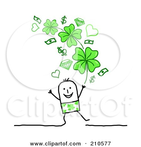 Royalty-Free (RF) Clipart Illustration of a Stick Person Man Under Money, Hearts And Shamrocks by NL shop