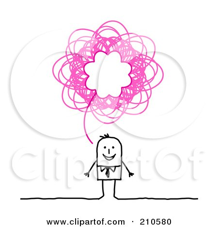 Royalty-Free (RF) Clipart Illustration of a Stick Person Business Man With A Pink Scribble Thought Balloon by NL shop