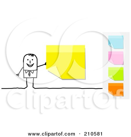 Royalty-Free (RF) Clipart Illustration of a Stick Person Business Man With A Yellow Sticky Note, Other Colors On The Side by NL shop