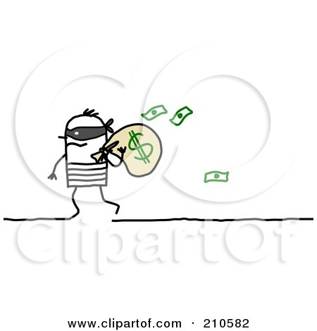 Royalty-Free (RF) Clipart Illustration of a Stick Person Man Robber Carrying A Bag Of Money by NL shop