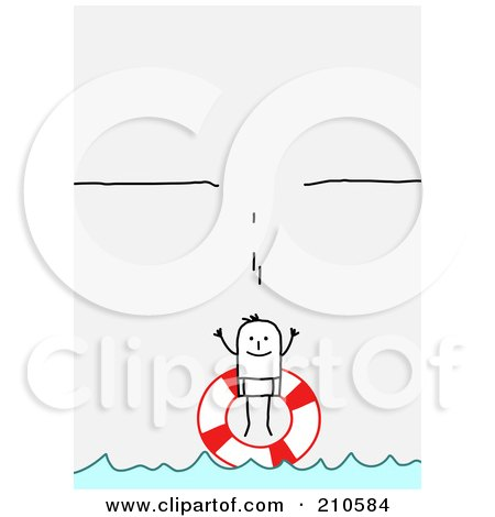 Royalty-Free (RF) Clipart Illustration of a Stick Person Man With A Life Buoy Under A Broken Ledge by NL shop