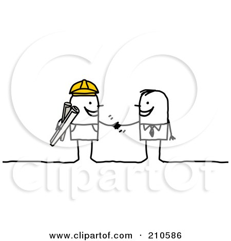 Royalty-Free (RF) Clipart Illustration of a Stick Person Business Man Shaking Hands With A Contracted Builder by NL shop