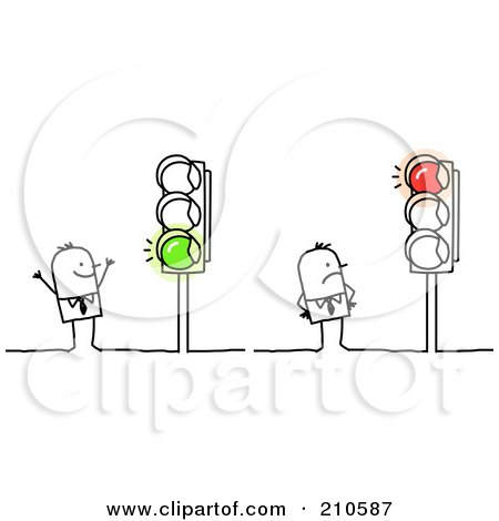 Royalty-Free (RF) Clipart Illustration of Stick Person Business Men Looking At Red And Green Lights by NL shop