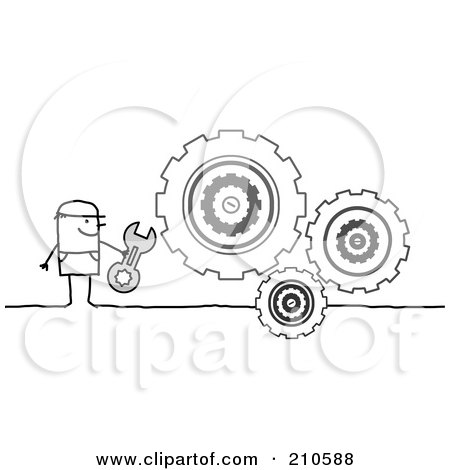Royalty-Free (RF) Clipart Illustration of a Stick Person Man Repairing Gear Cogs by NL shop