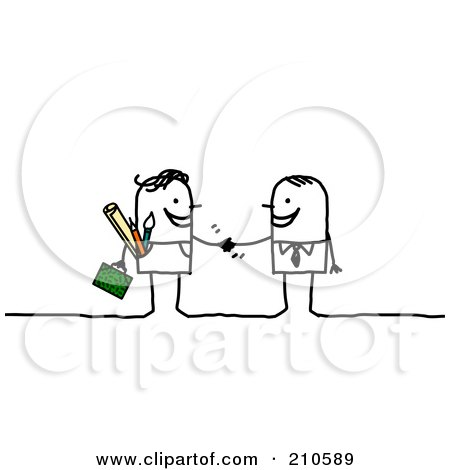 Royalty-Free (RF) Clipart Illustration of a Stick Person Business Man Shaking Hands With A Contracted Artist by NL shop