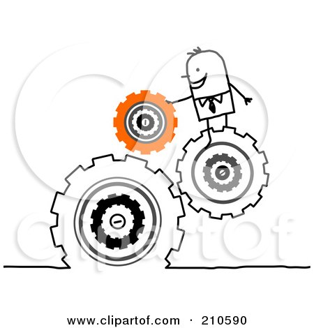 Royalty-Free (RF) Clipart Illustration of a Stick Person Business Man Directing Turning Gears by NL shop