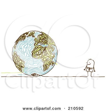 Royalty-Free (RF) Clipart Illustration of a Stick Person Business Man Looking At A Doodle Globe by NL shop