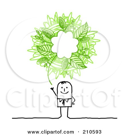 Royalty-Free (RF) Clipart Illustration of a Stick Person Business Man With A Green Ecology Scribble Thought Balloon by NL shop
