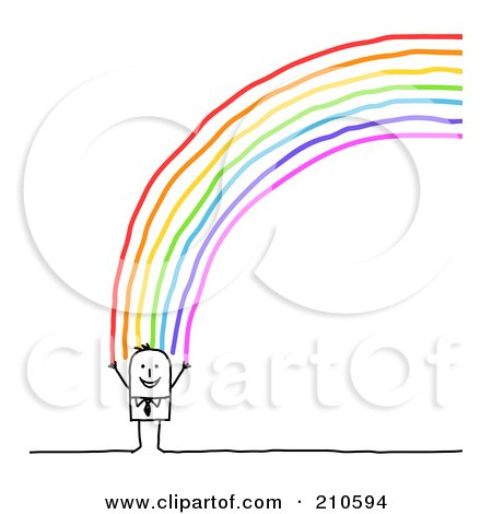 Royalty-Free (RF) Clipart Illustration of a Happy Stick Person Man Standing At The End Of A Rainbow by NL shop