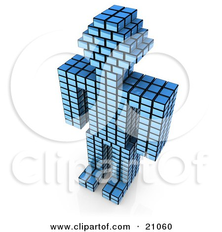 Clipart Illustration of a Blue Cubic Robot Made Of Stacked Cubes, Standing Over A White Background by 3poD